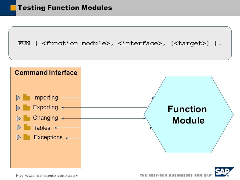 Testing Function Modules
