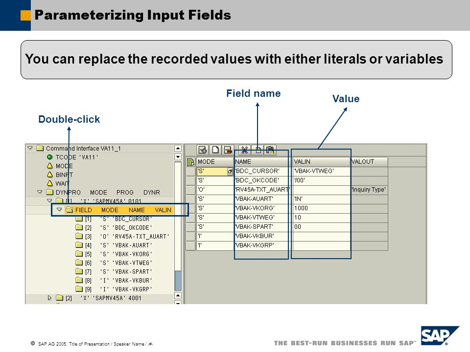 Parameterizing Input Fields