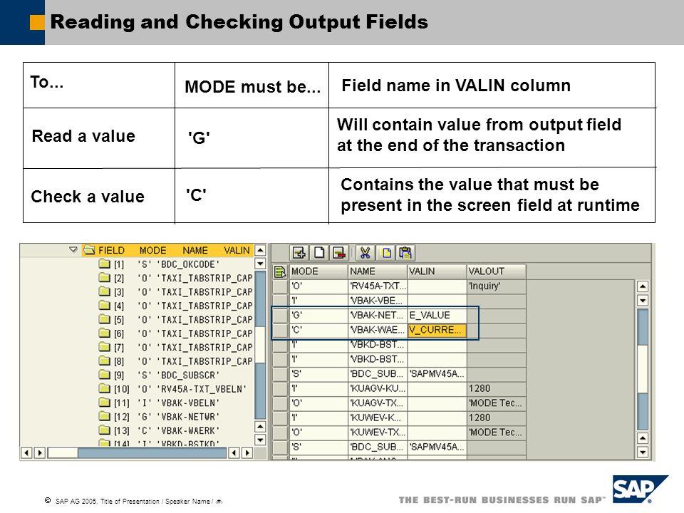 Reading and Checking Output Fields