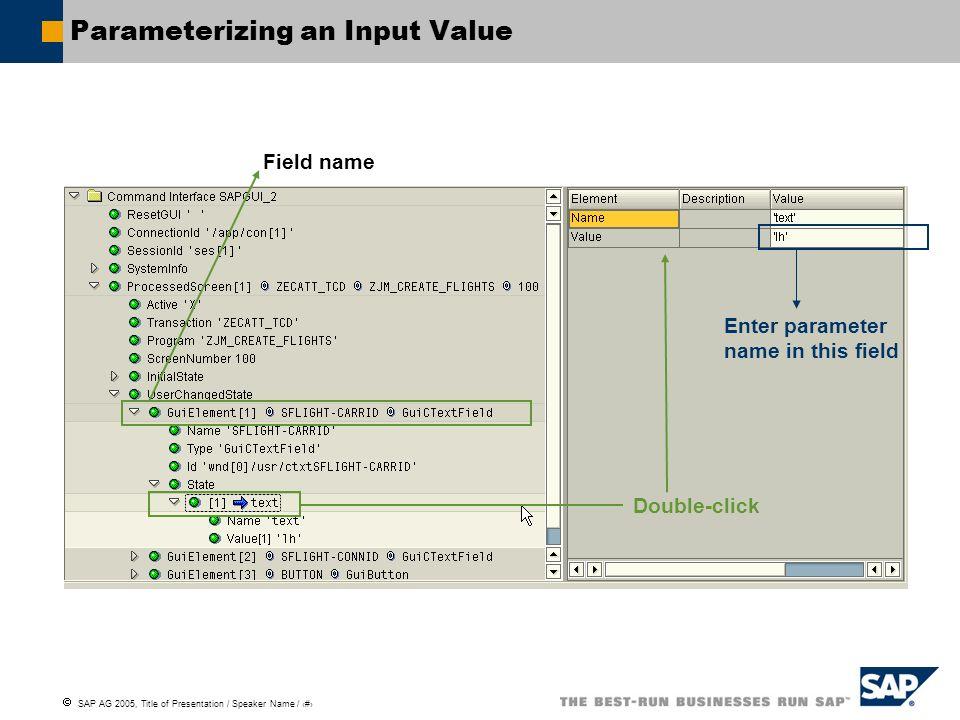 Parameterizing an Input Value