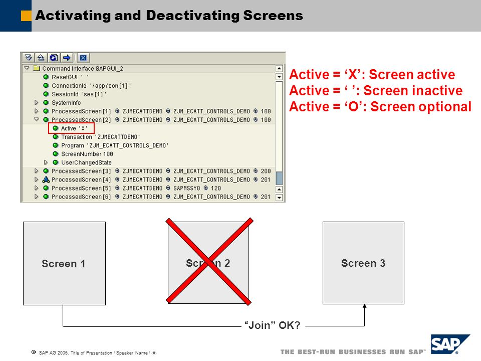 Activating and Deactivating Screens