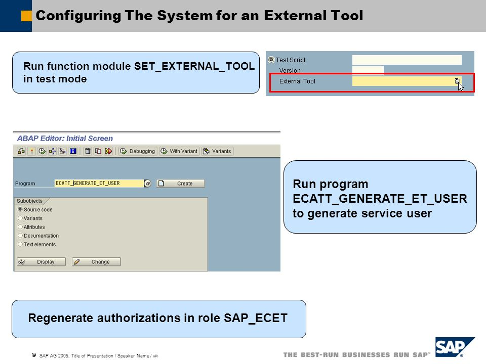 Configuring The System for an External Tool