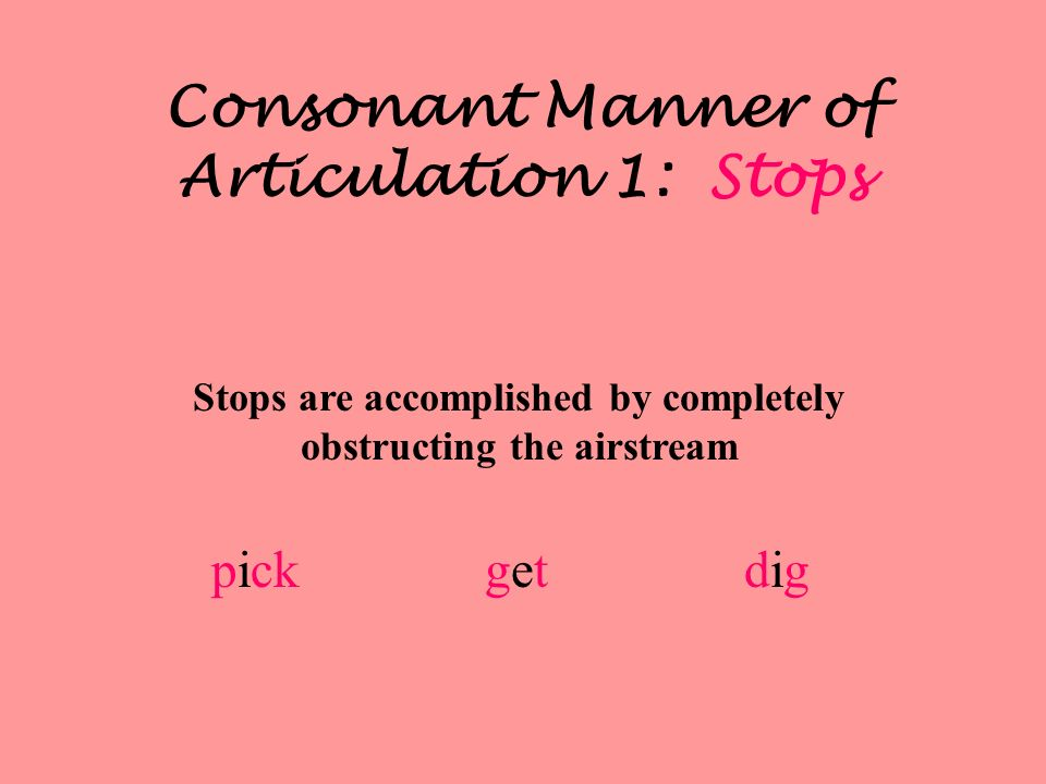 Consonant Manner of Articulation 1: Stops