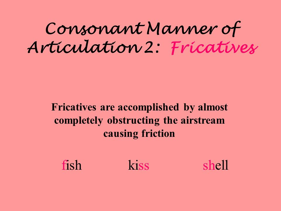 Consonant Manner of Articulation 2: Fricatives