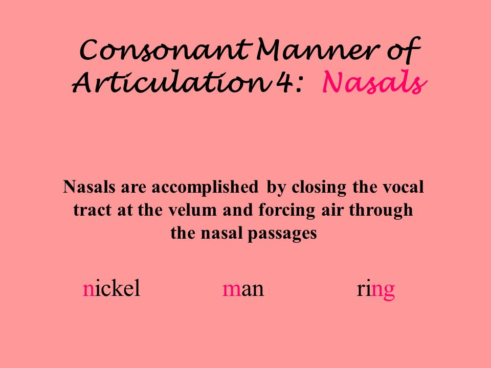 Consonant Manner of Articulation 4: Nasals