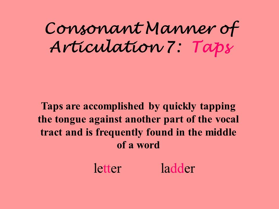 Consonant Manner of Articulation 7: Taps