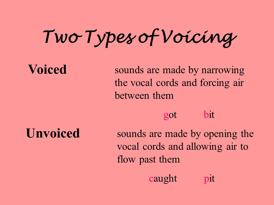Two Types of Voicing Voiced Unvoiced