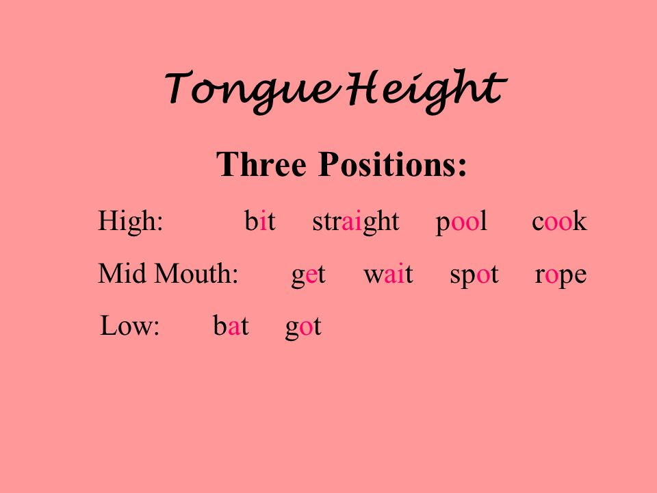 Tongue Height Three Positions: High: bit straight pool cook