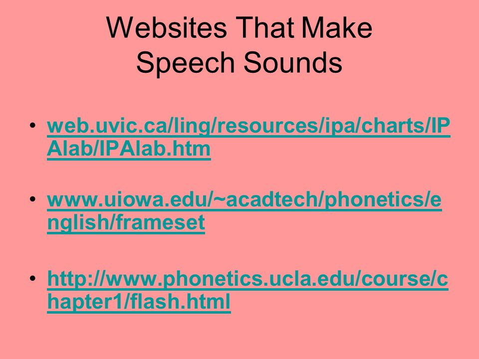 Websites That Make Speech Sounds