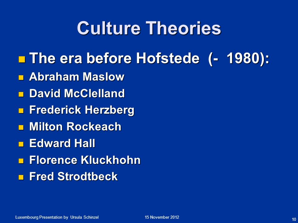 Culture Theories The era before Hofstede (- 1980): Abraham Maslow