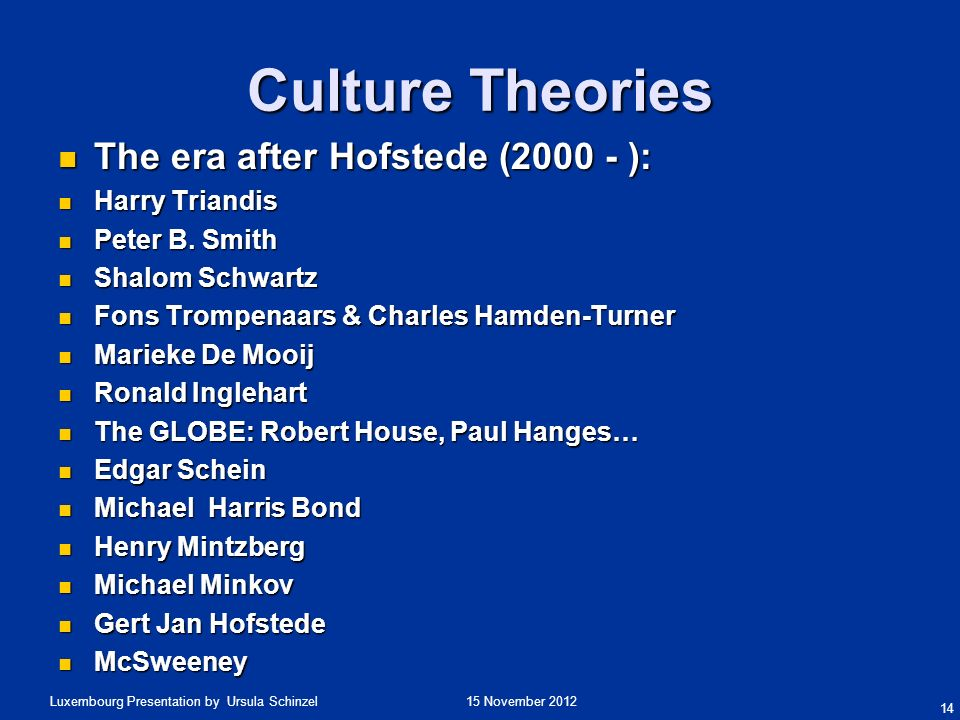 Culture Theories The era after Hofstede (2000 - ): Harry Triandis