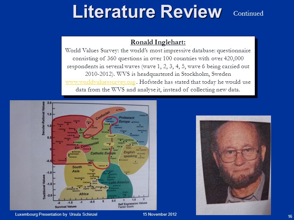 Literature Review Continued Ronald Inglehart: