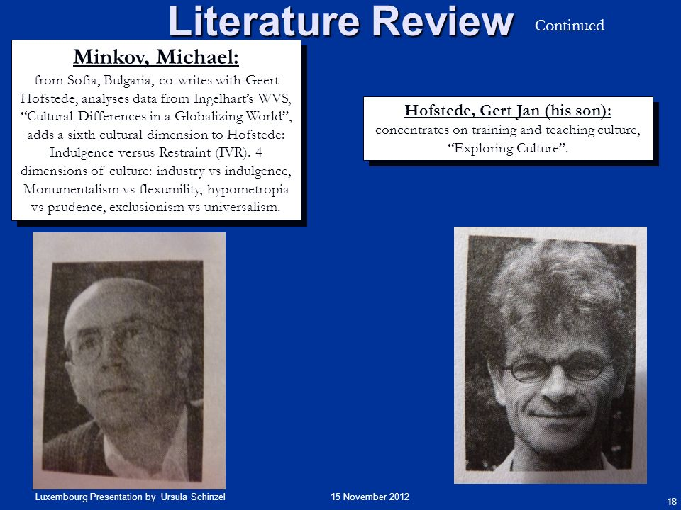 Literature Review Minkov, Michael: Continued