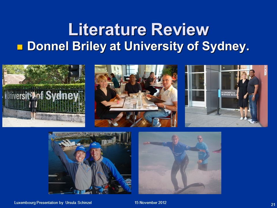Literature Review Donnel Briley at University of Sydney.