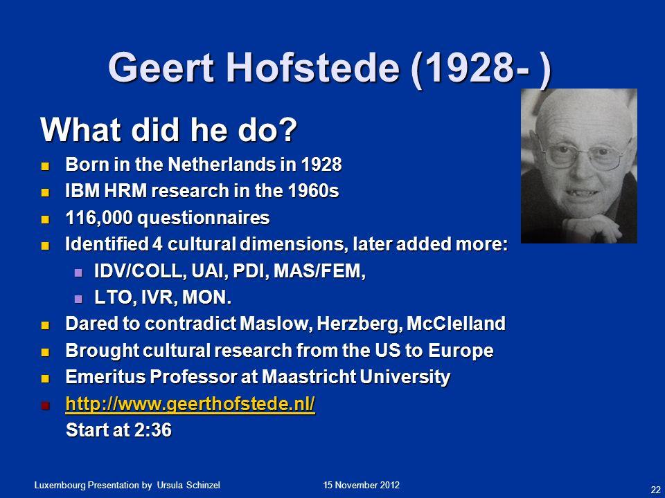 Geert Hofstede (1928- ) What did he do