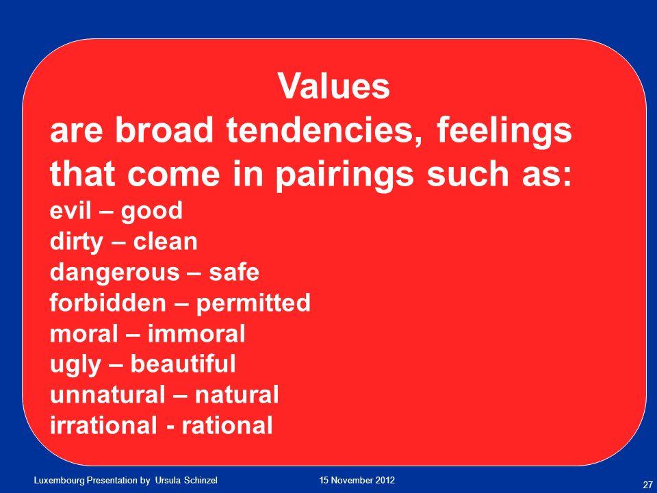 are broad tendencies, feelings that come in pairings such as: