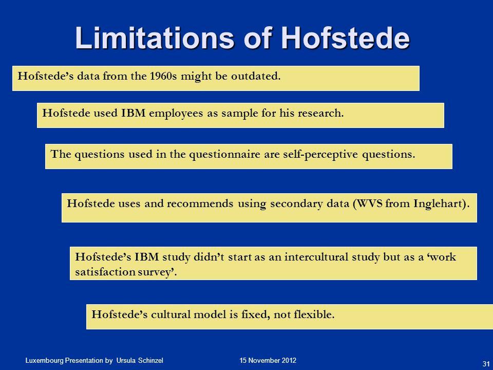 Limitations of Hofstede