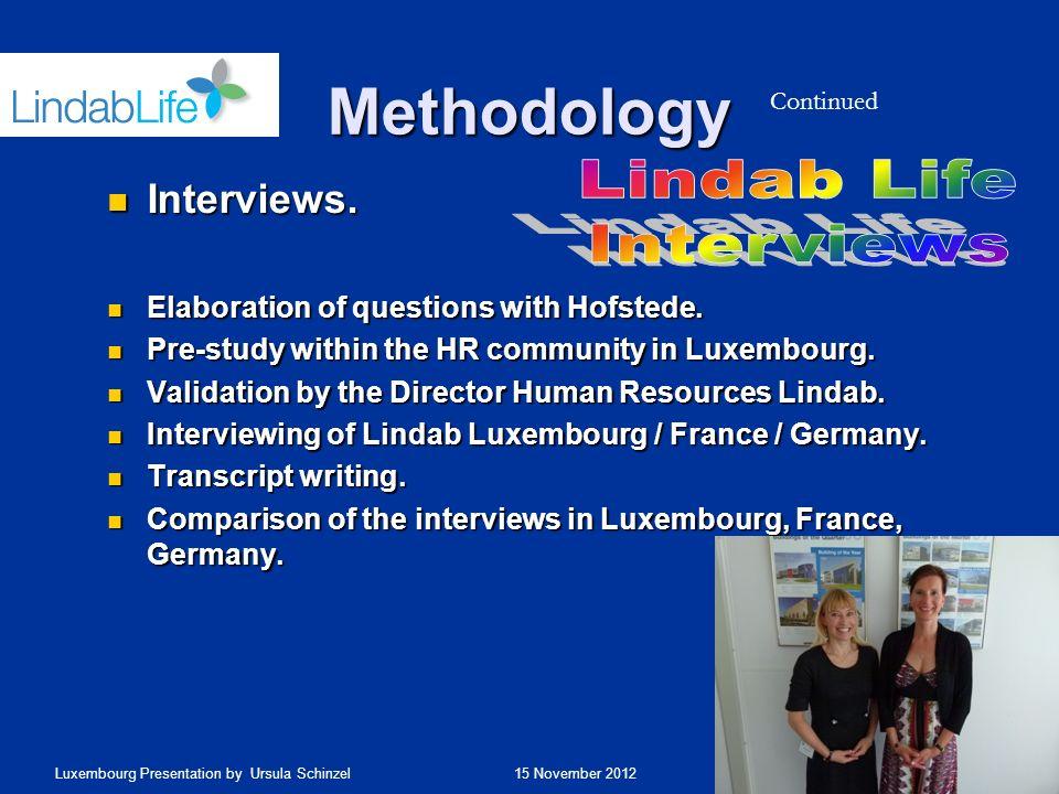 Methodology Lindab Life Interviews Interviews.