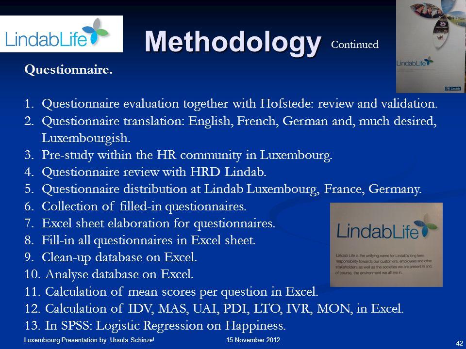 Methodology Questionnaire.