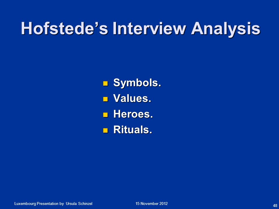 Hofstede's Interview Analysis