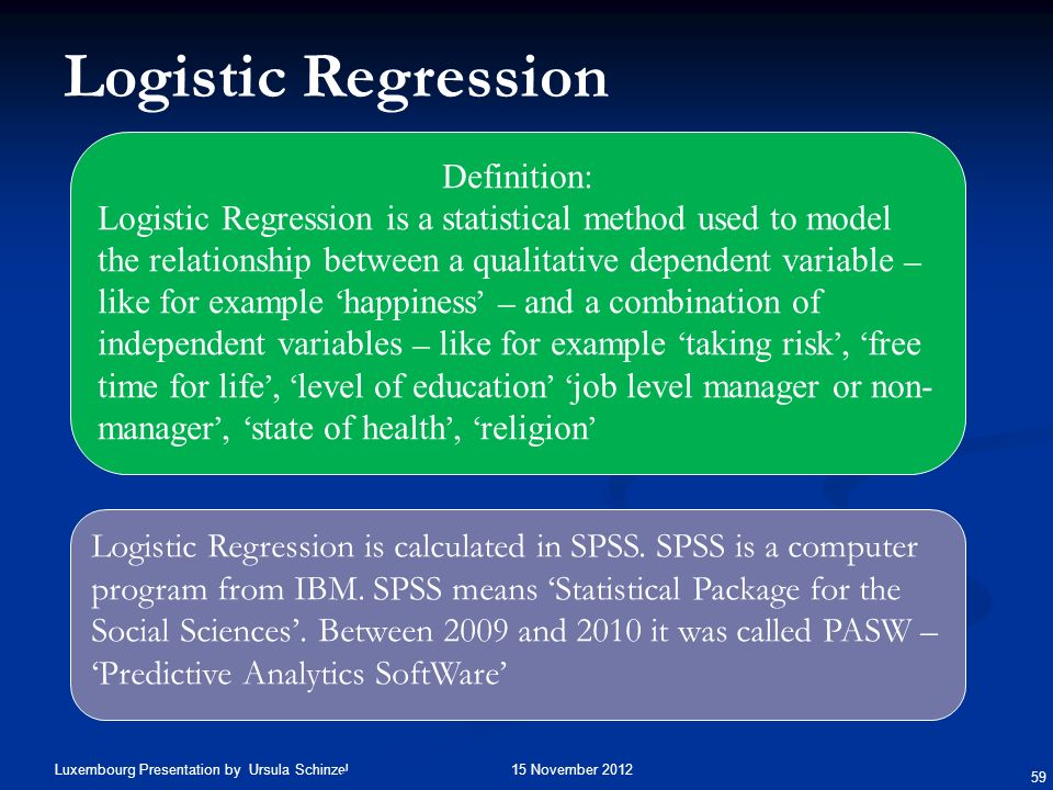 Logistic Regression Definition:
