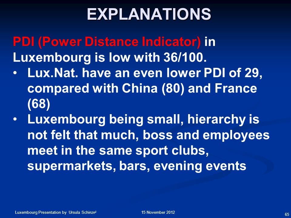 Explanations PDI (Power Distance Indicator) in Luxembourg is low with 36/100.
