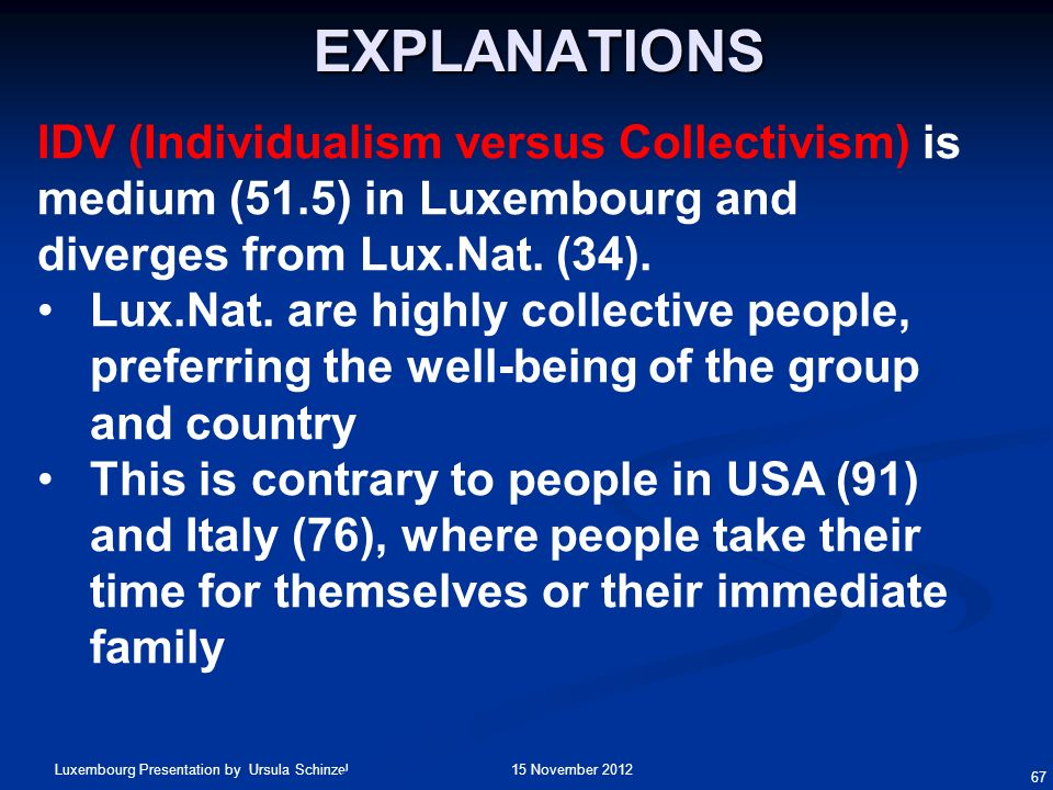 Explanations IDV (Individualism versus Collectivism) is medium (51.5) in Luxembourg and diverges from Lux.Nat. (34).