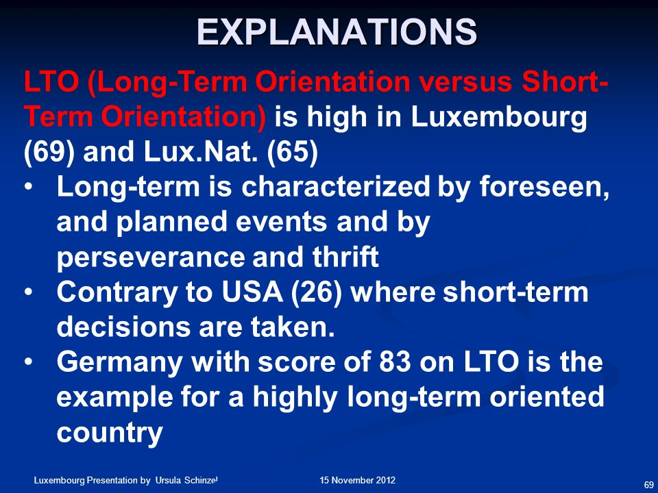 Explanations LTO (Long-Term Orientation versus Short-Term Orientation) is high in Luxembourg (69) and Lux.Nat. (65)