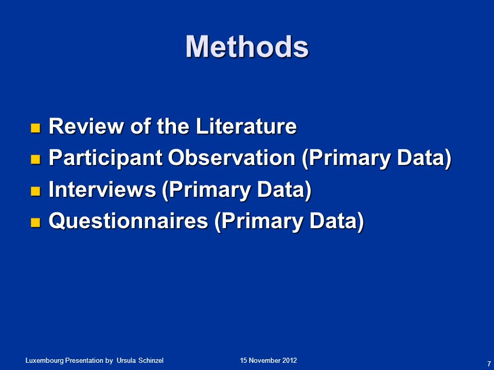 Methods Review of the Literature