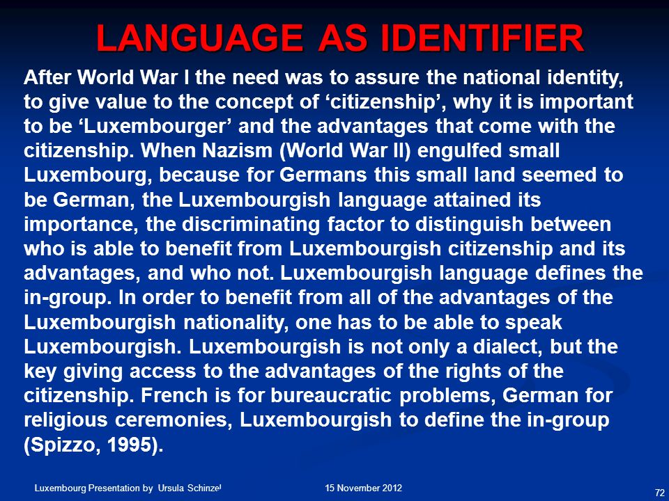 Language as Identifier