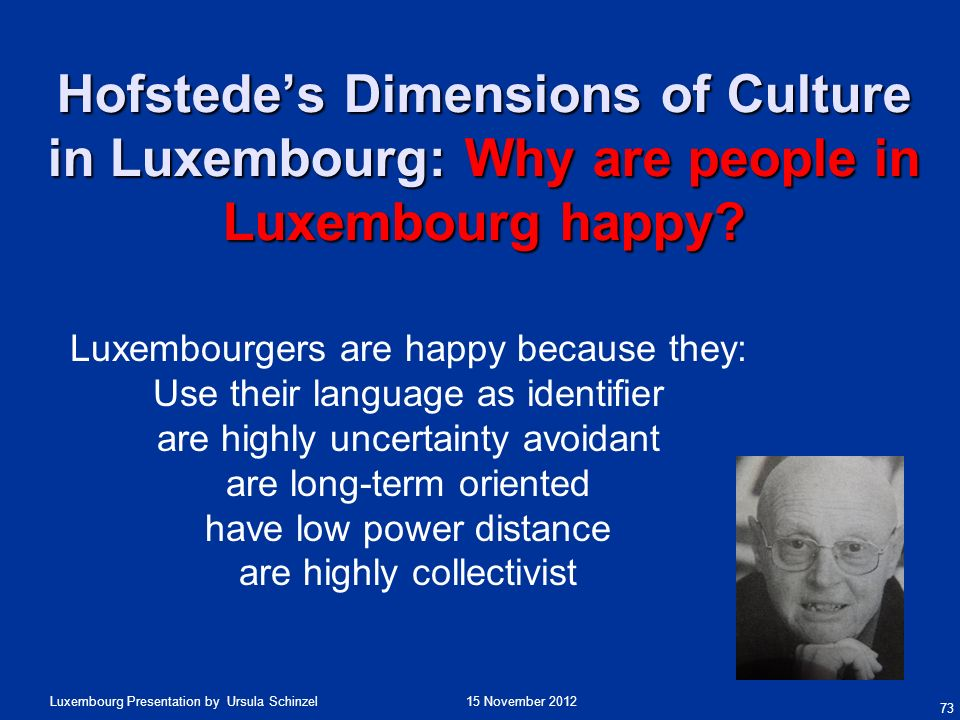 Hofstede's Dimensions of Culture in Luxembourg: Why are people in Luxembourg happy
