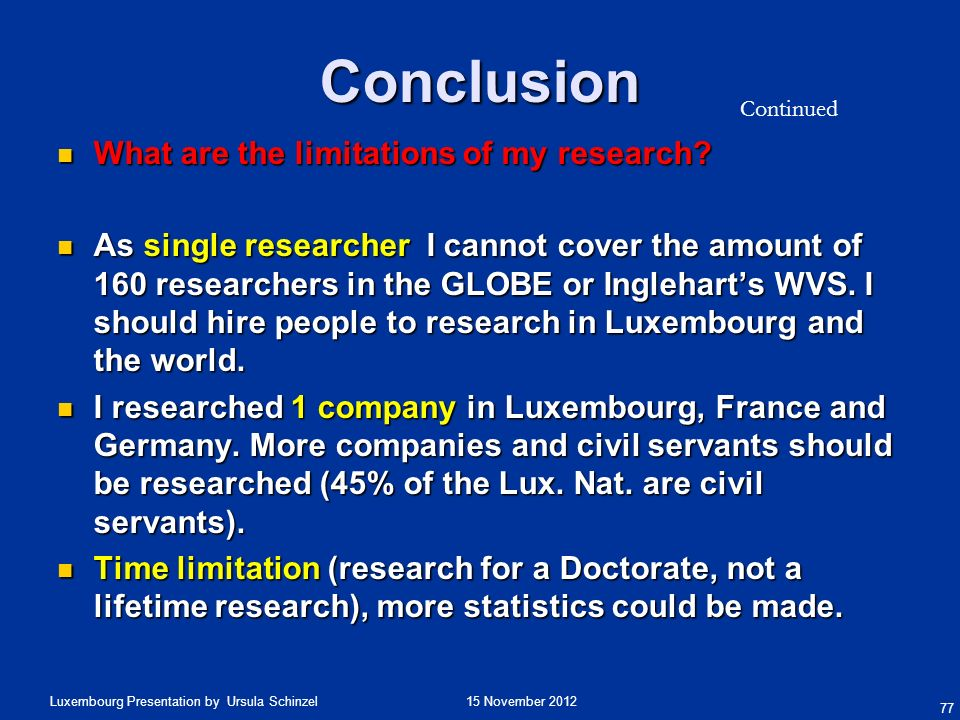Conclusion What are the limitations of my research