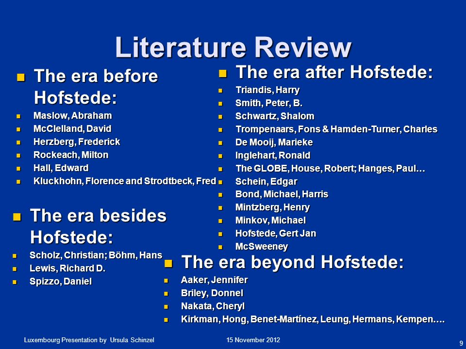 Literature Review The era after Hofstede: The era before Hofstede: