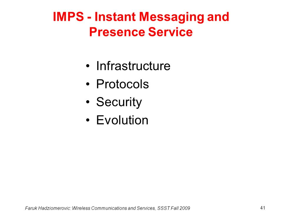 IMPS - Instant Messaging and Presence Service