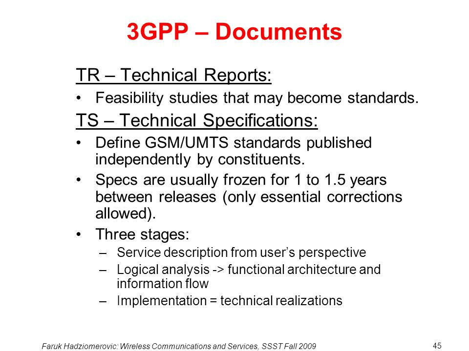 3GPP – Documents TR – Technical Reports: