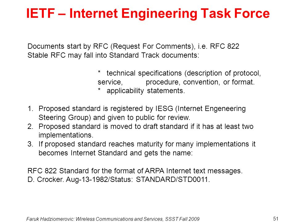 IETF – Internet Engineering Task Force