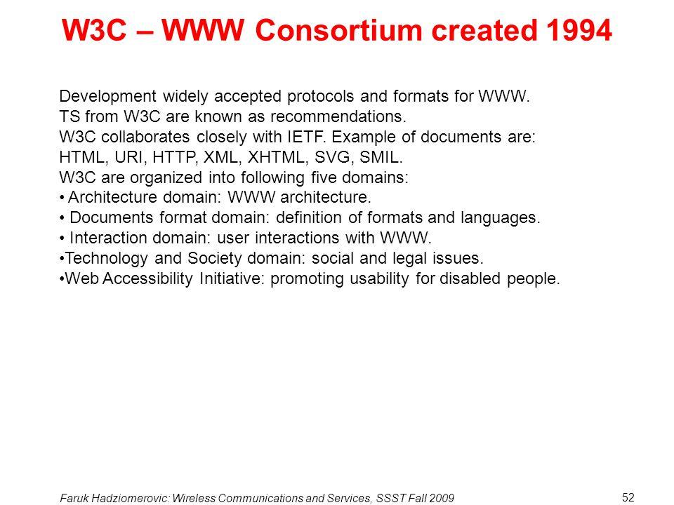 W3C – WWW Consortium created 1994