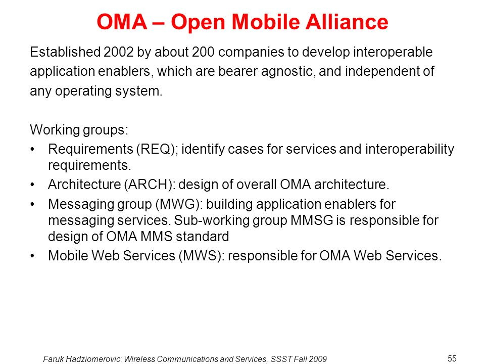 OMA – Open Mobile Alliance