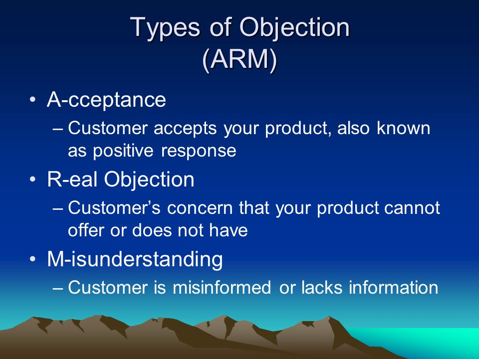 Types of Objection (ARM)