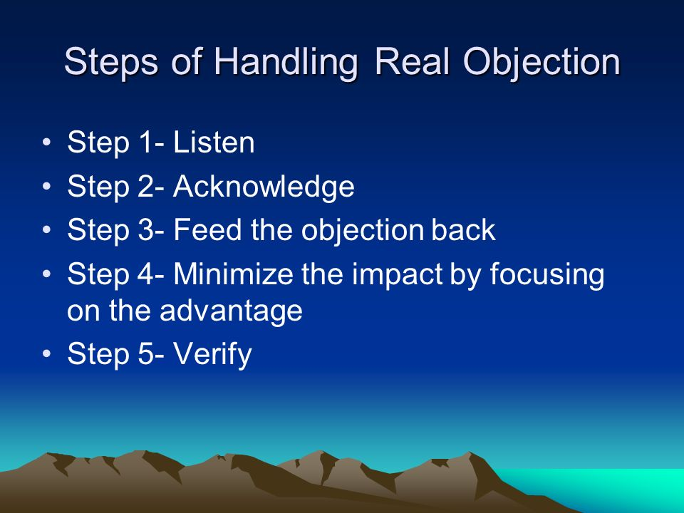 Steps of Handling Real Objection