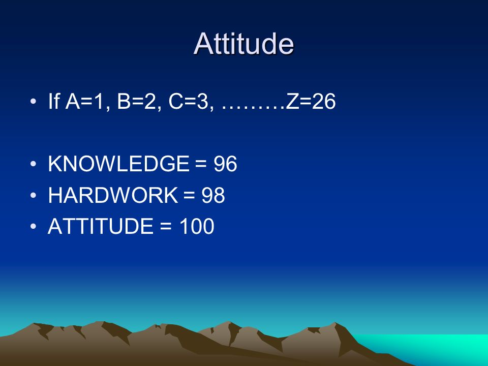 Attitude If A=1, B=2, C=3, ………Z=26 KNOWLEDGE = 96 HARDWORK = 98