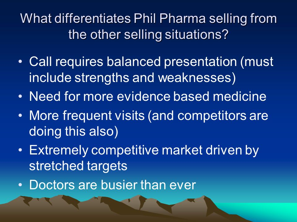 What differentiates Phil Pharma selling from the other selling situations