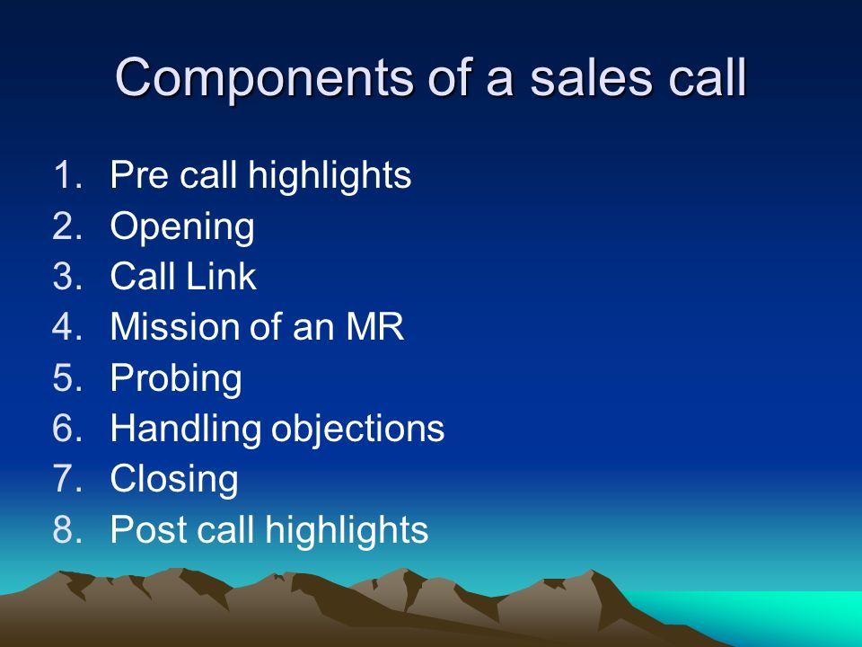Components of a sales call