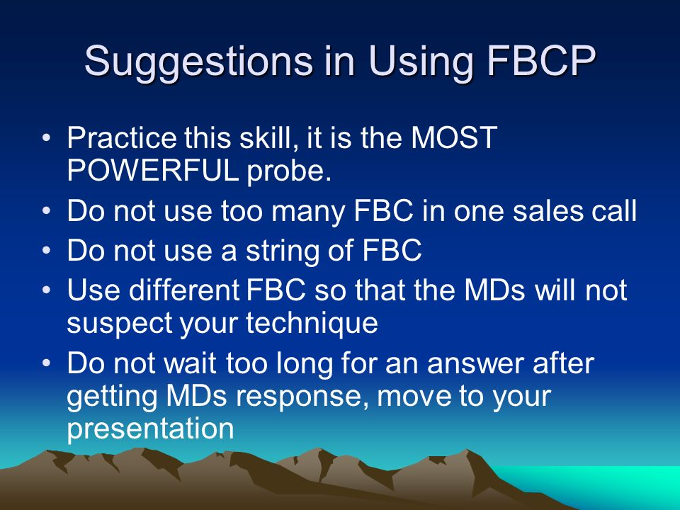 Suggestions in Using FBCP