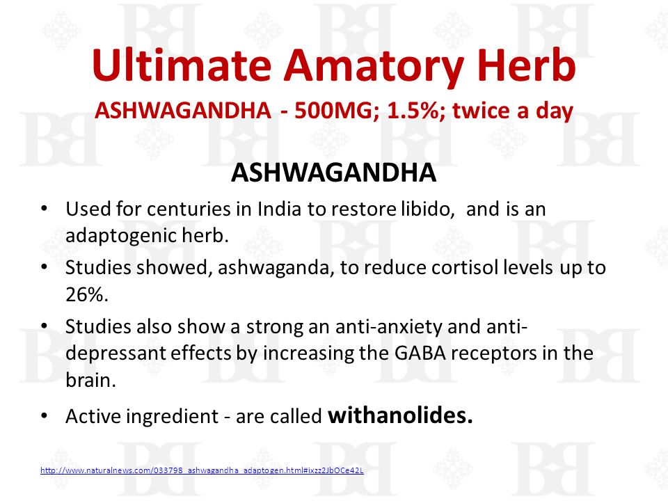 Ultimate Amatory Herb ASHWAGANDHA - 500MG; 1.5%; twice a day