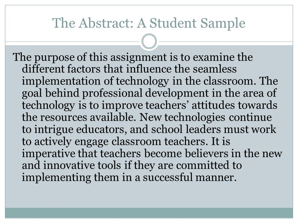 The Abstract: A Student Sample