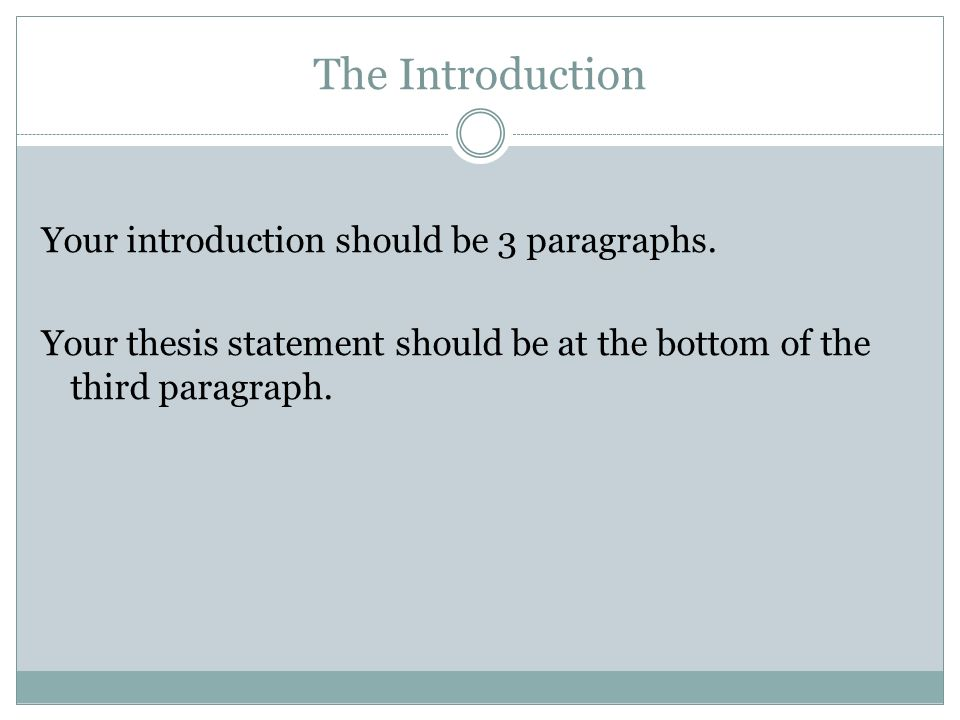 The Introduction Your introduction should be 3 paragraphs.