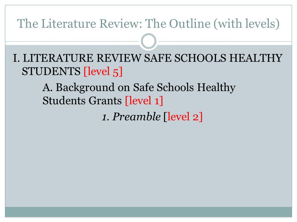 The Literature Review: The Outline (with levels)