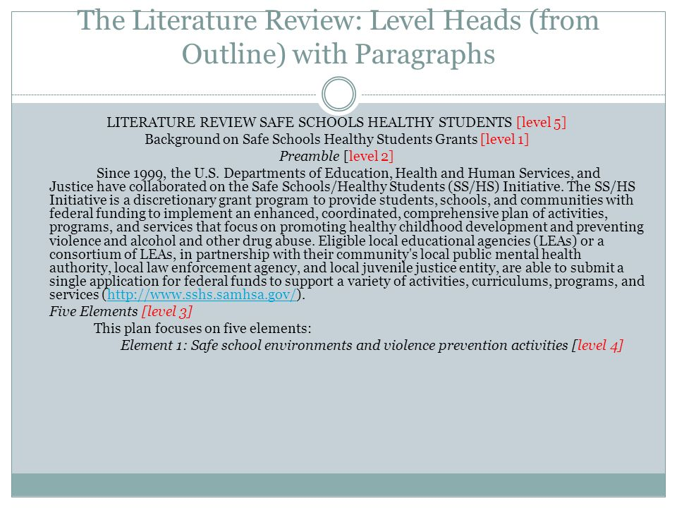 The Literature Review: Level Heads (from Outline) with Paragraphs