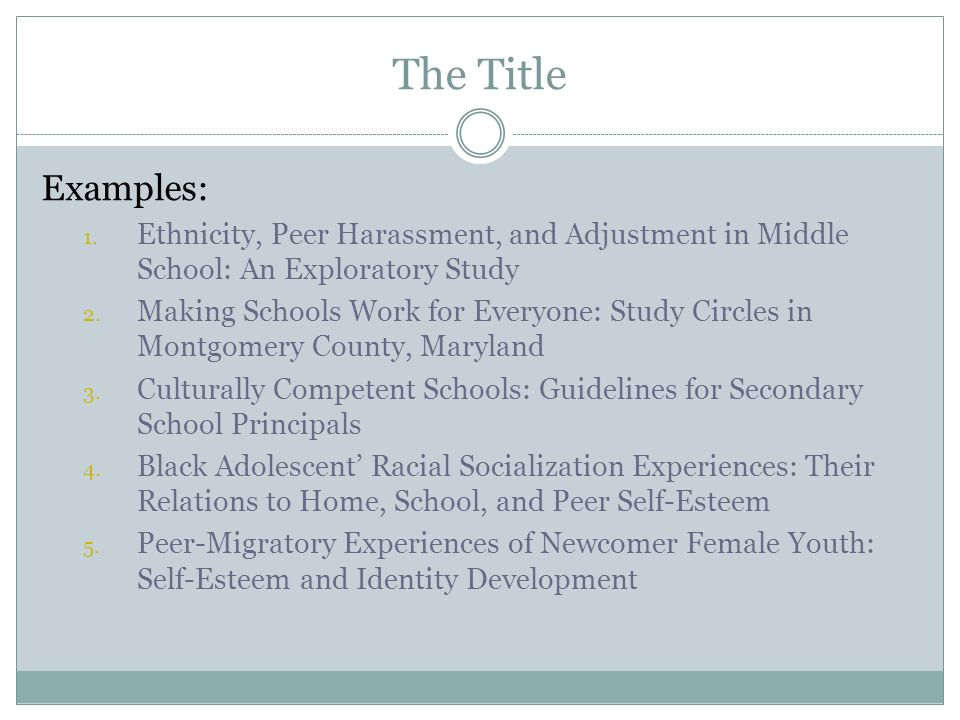 The Title Examples: Ethnicity, Peer Harassment, and Adjustment in Middle School: An Exploratory Study.